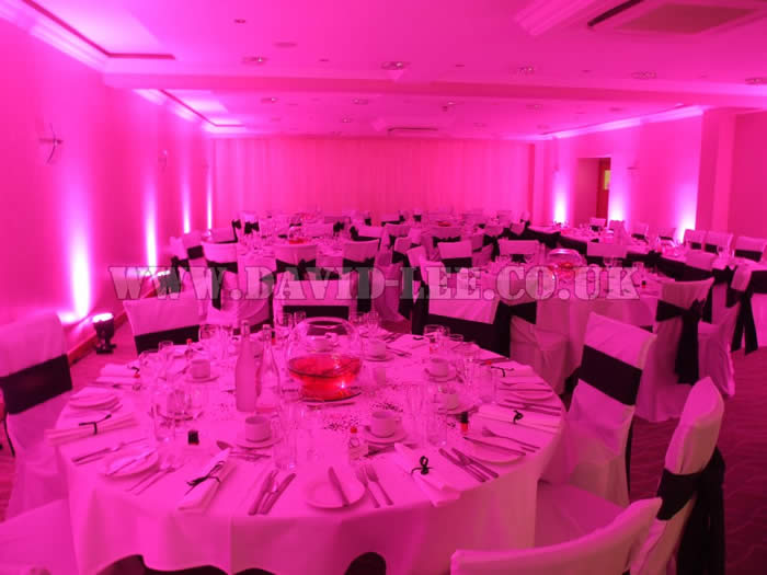 pink venue lighting at clough manor