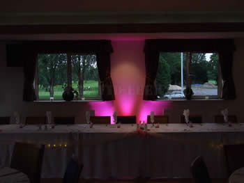 Pink uplighting cluster at Blackley Golf Club