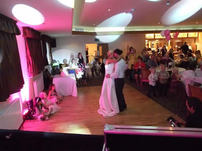fIRST DANCE WITH pINK UPLIGHTING AT Blackley Golf Club