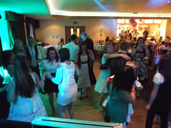 turquoise venue lighting at Blackley Golf Club with wedding dj and disco
