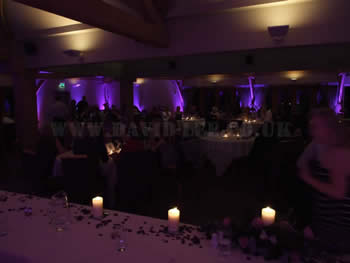 purple venue uplighting at white hart, lydgate