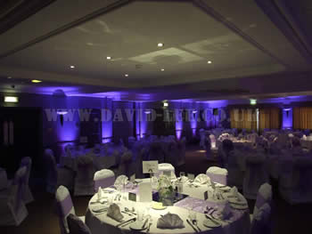 Village Hotel Cheadle cheshire with up lighting in purple and background music