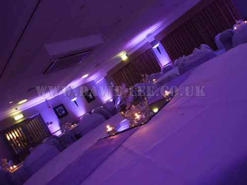 wedding uplighting in Cheadle Cheshire in purple, after the meal just before the disco