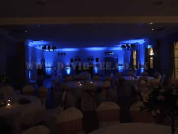 Mottram Hall, wedding disco and venue lighting in blue