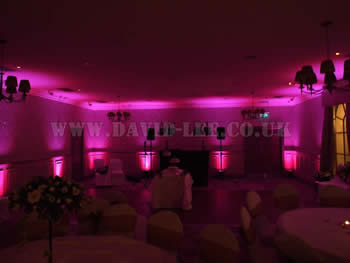 Mottram Hall, wedding disco and venue lighting in Pink