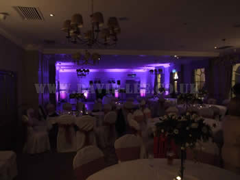 Mottram hall, disco and venue lighting in purple