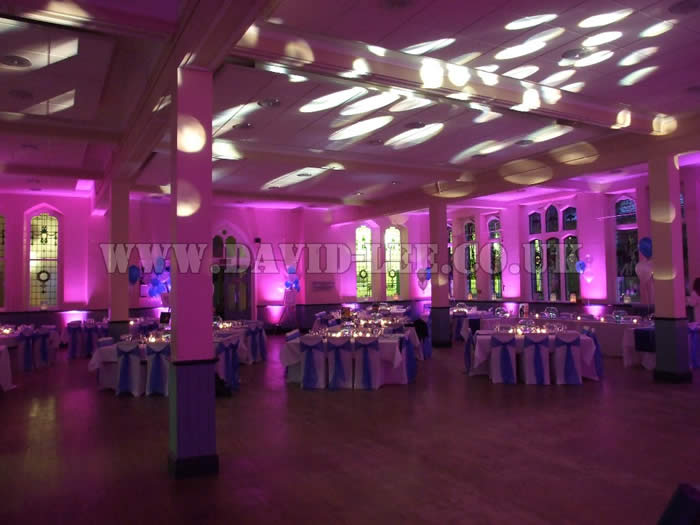 pink venue lighting at cheadle school