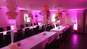 White hart restaraunt, venue up-lighting in pink