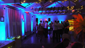 Blue venue up-lighting in wilmslow  at Quarry Bank Mill