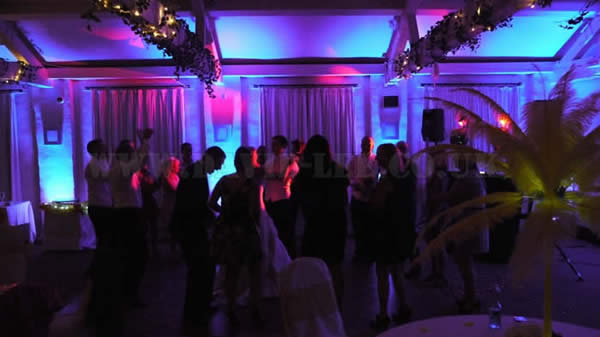 blue venue up lighting at Quarry Bank Mill with wedding dj & disco finale