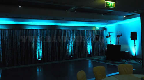 Teal venue lighting at Marriott Victoria and Albert Hotel