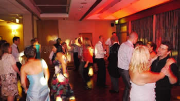 wedding guests dancing at Marriott victoria and albert hotel
