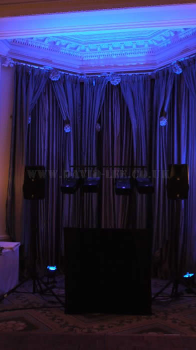 venue uplighting  and disco at Midland Hotel manchester