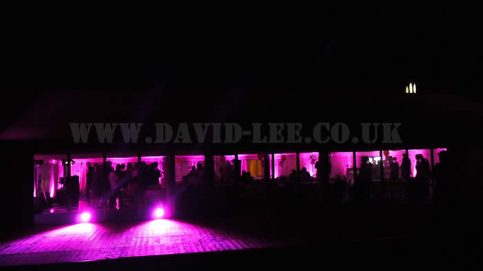 Scarisbrick Hall with Pink Up-lighting