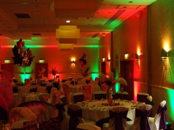 green and red venue lighting at The Park Royal hotel, Cheshire