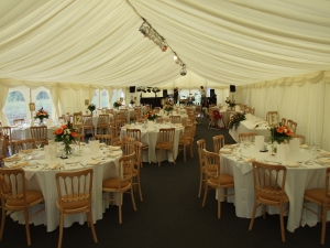 moorfield Arms , marquee set-up before guests arrive, mine and the band set-up at the far end.